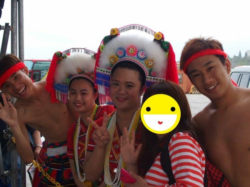 ダイヤモンドプリンセスが花蓮港に入港したときの先住民族阿美族による歓迎