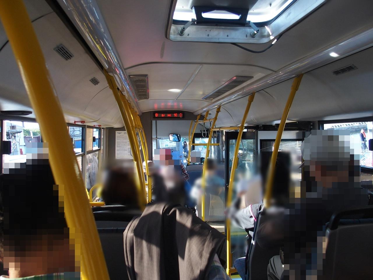 ダイヤモンドプリンセスで寄港したコルサコフの現地ツアーのバス