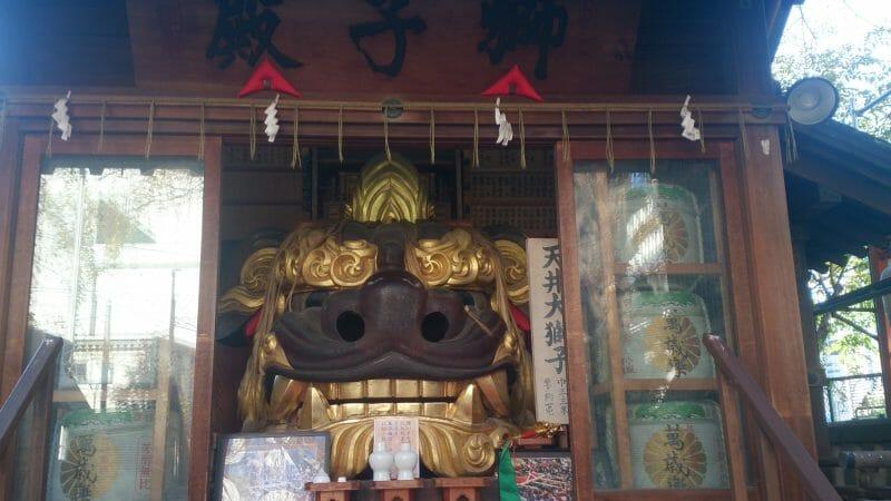 波除神社の雄獅子天井大獅子