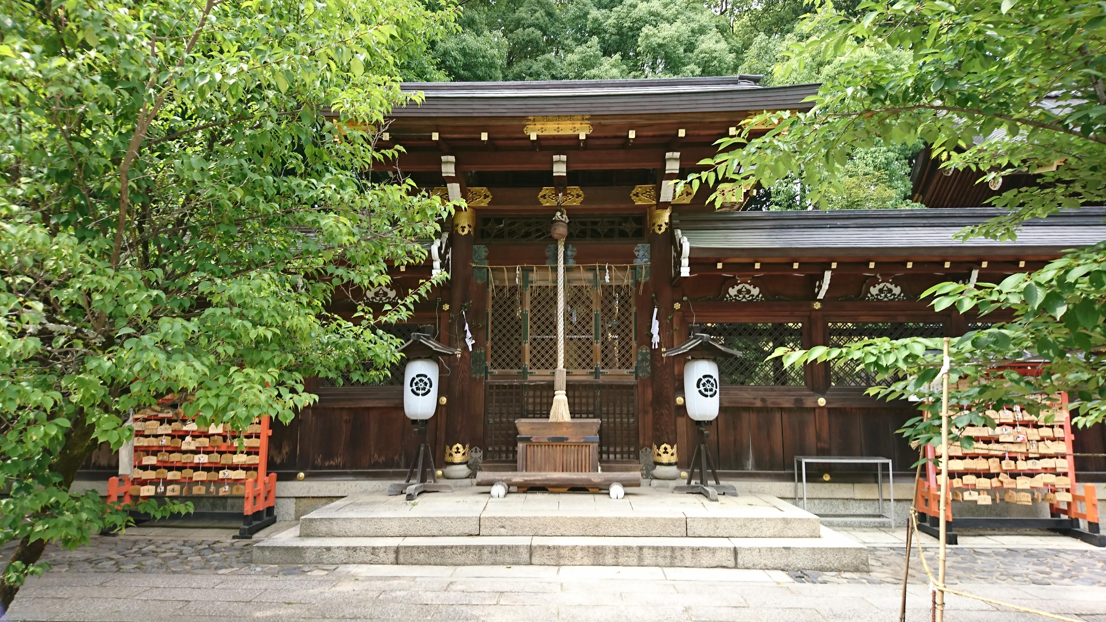 京都今宮神社でやすらい祭の行列がやってくる疫社