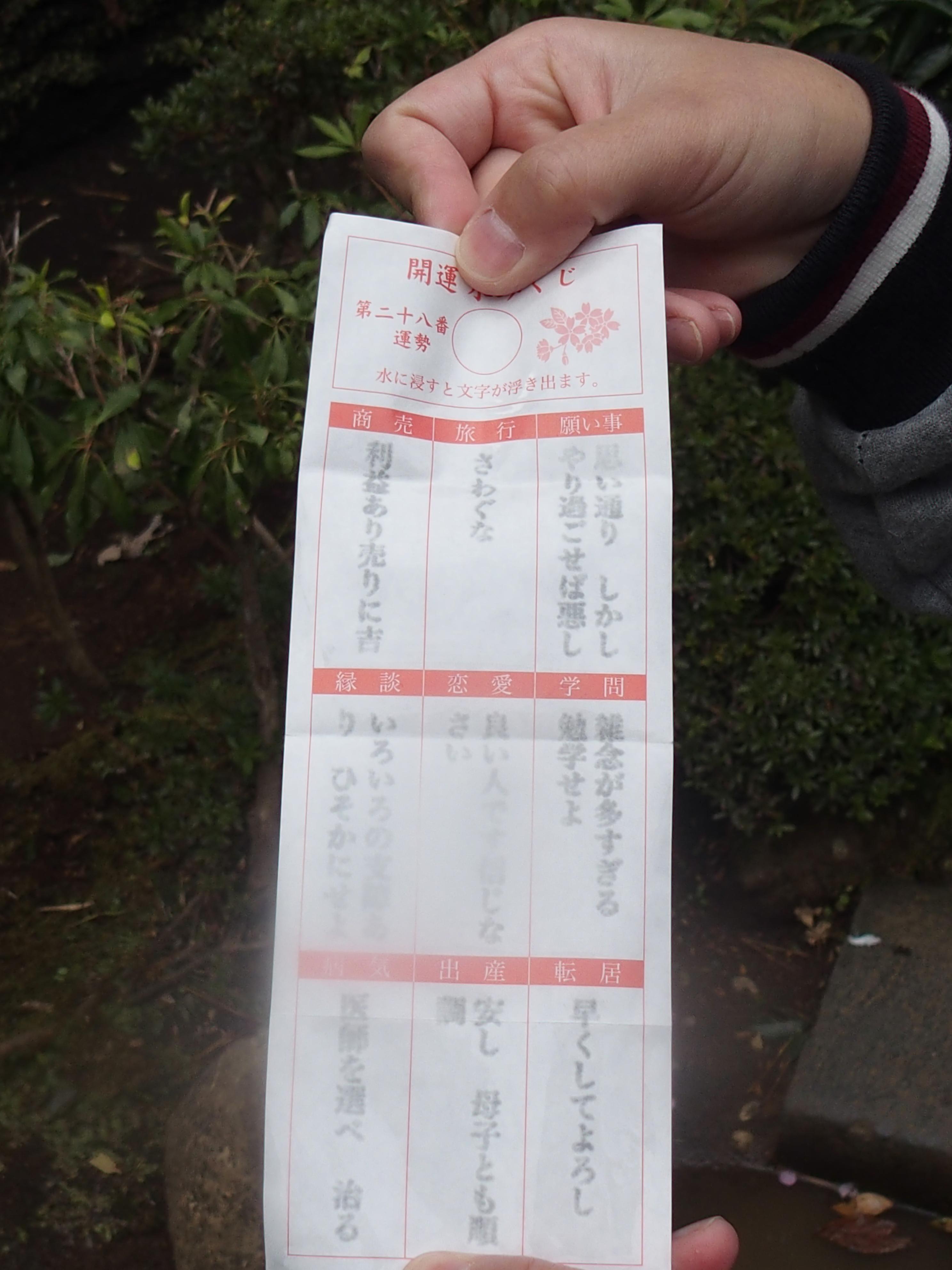 江ノ島神社中津宮の水みくじ