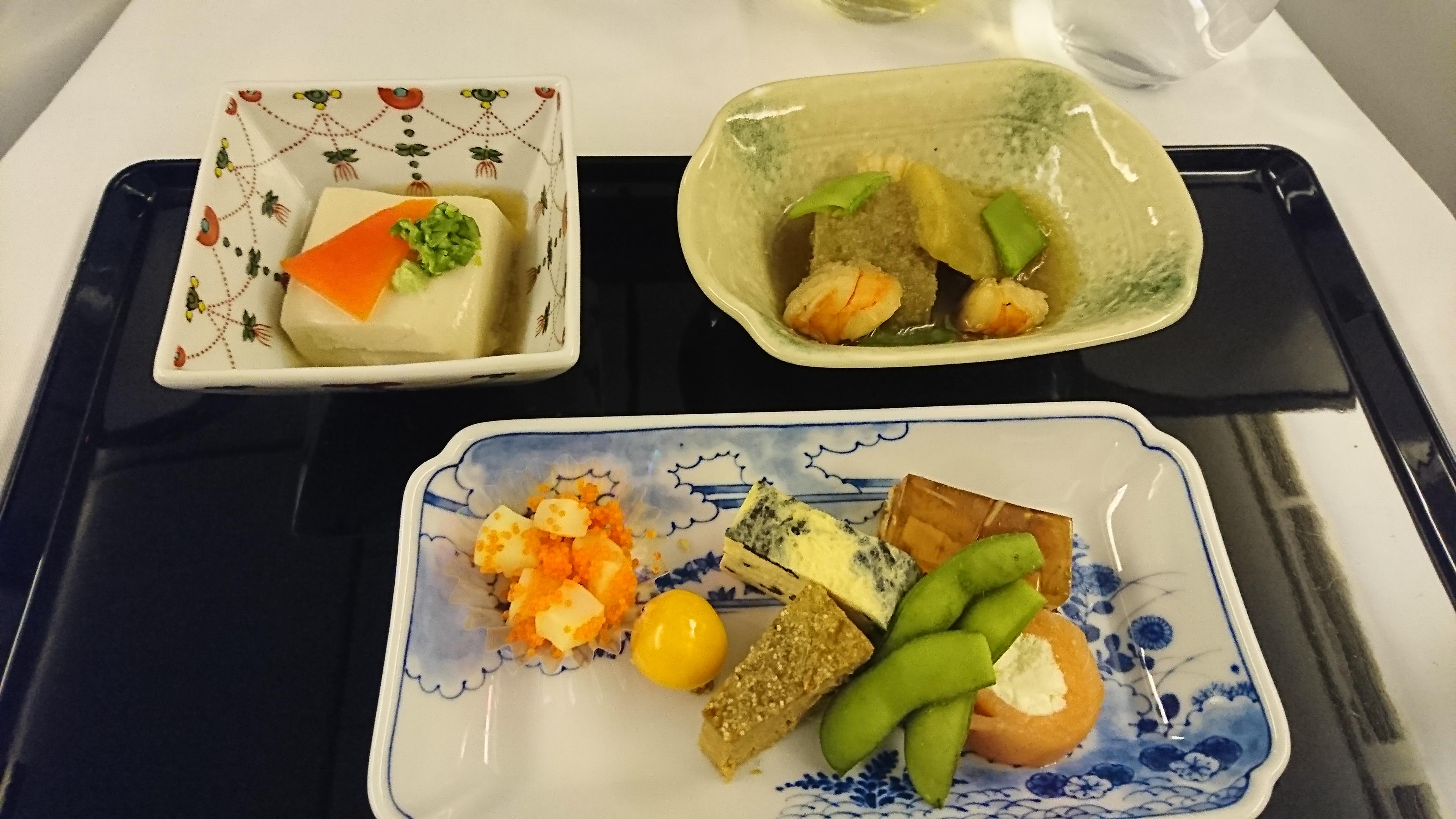 ANAビジネスクラス機内食和食のメニュー
