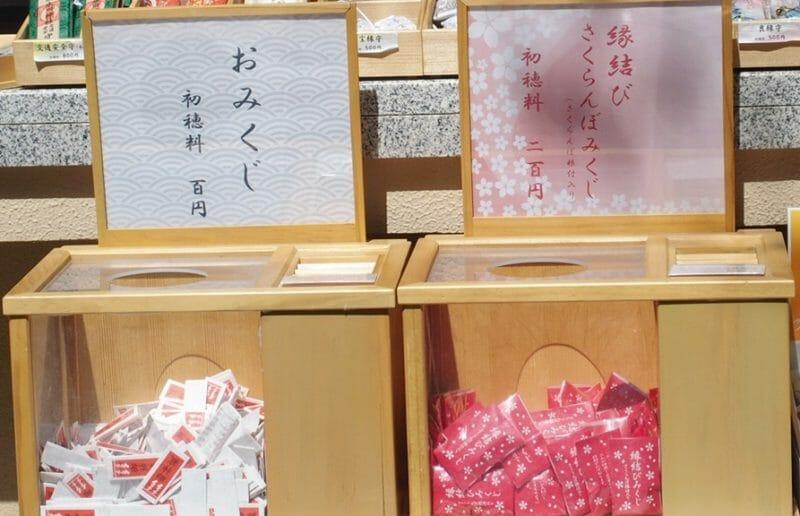 赤坂氷川神社のおみくじと縁結びさくらんぼみくじ