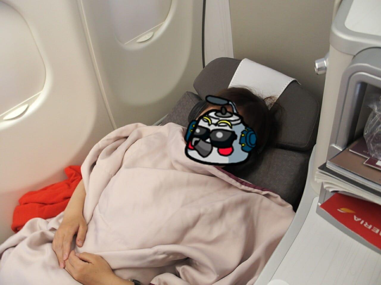 イベリア航空ビジネスクラスのシートはフラットになります