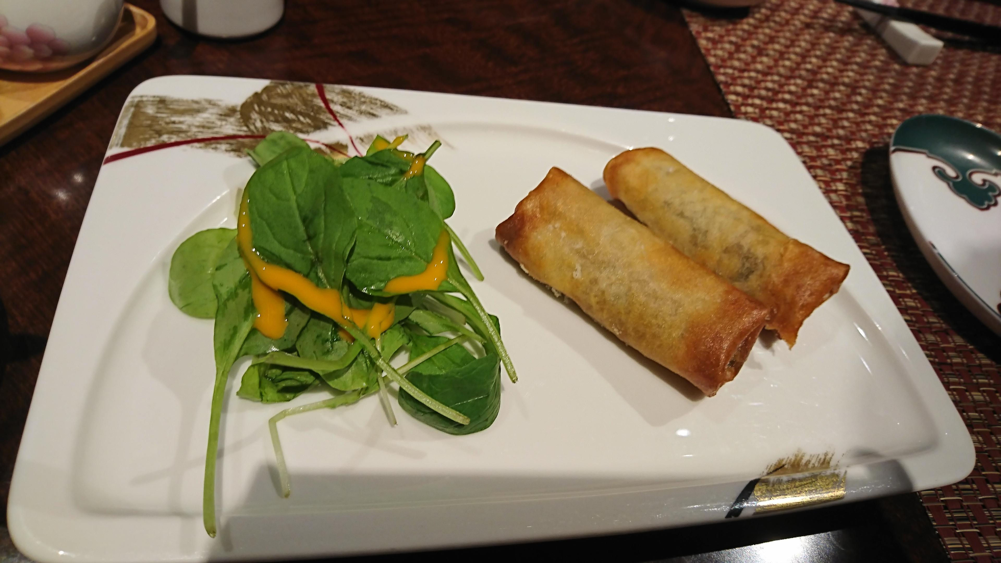 新神戸ANAクラウンプラザの34階にある中国レストラン蘇州の春巻き