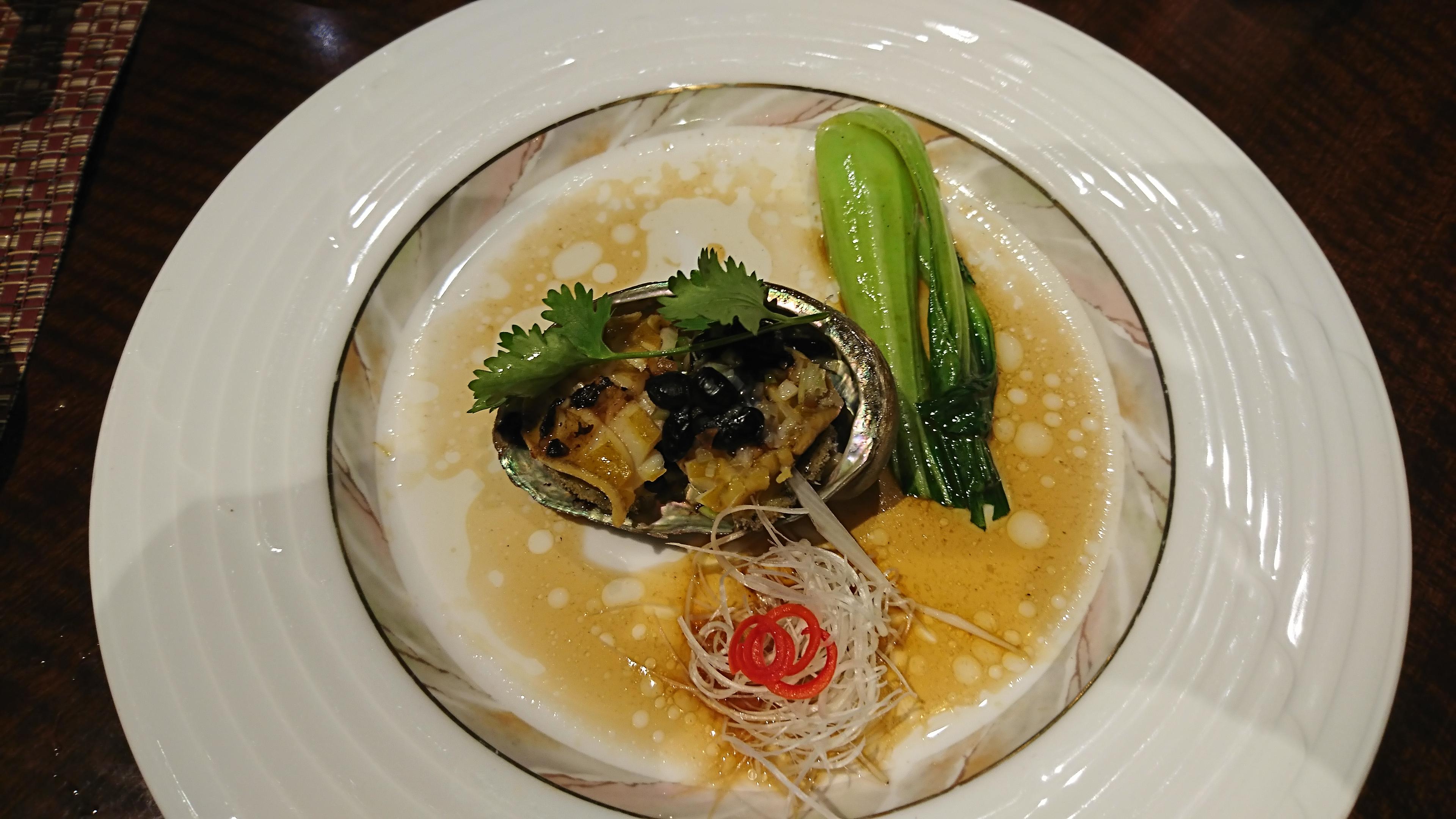 新神戸ANAクラウンプラザの34階にある中国レストラン蘇州のあわび