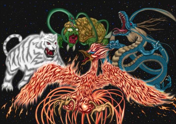四神(しじん)とは、青龍(せいりゅう)、朱雀(すじゃく)、白虎(びゃっこ)、玄武(げんぶ)の四聖獣