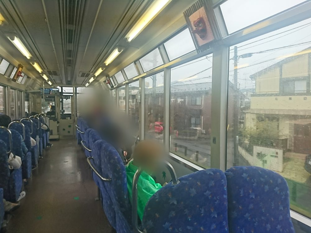叡山電車で貴船神社~鞍馬山に向かう展望列車きららの車内