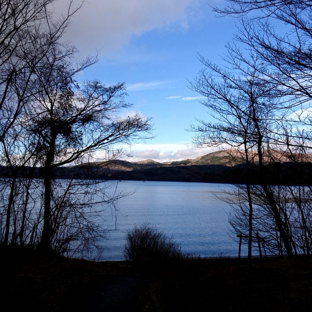 山中湖畔で見える南アルプス