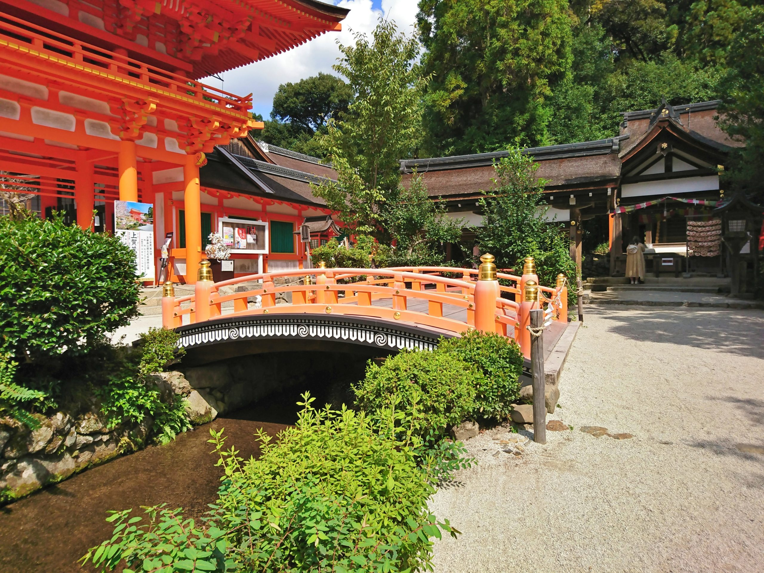 上賀茂神社の桜門と玉橋