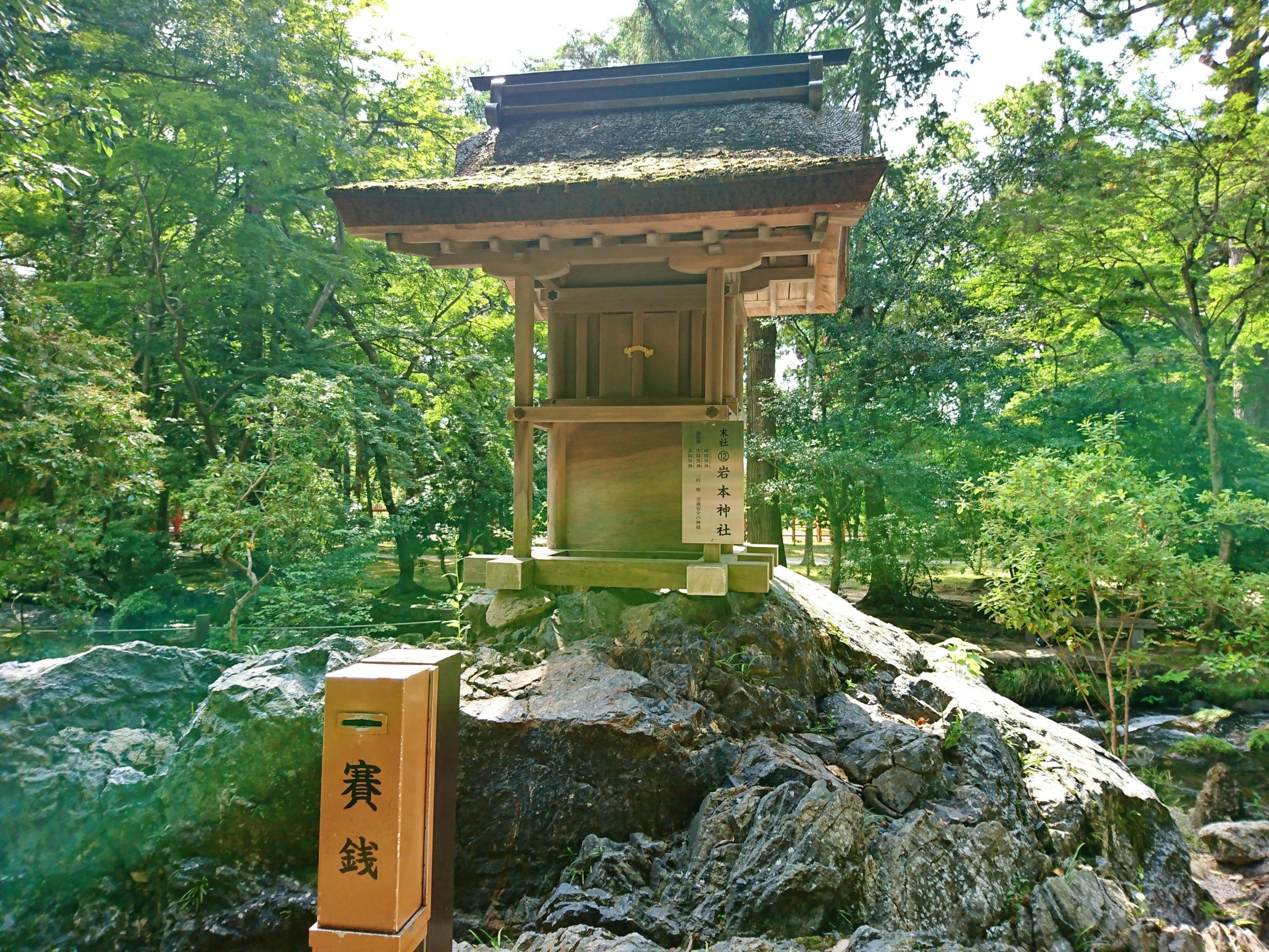上賀茂神社の境内を流れるならの小川のほとりにある岩本神社
